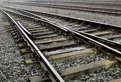 Railroad siding in a strong perspective view Stock Photos