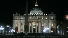 Rome, Vatican summer 2016. Facade of St. Peter's Basilica at night. - stock footage