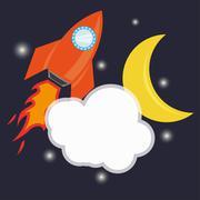 Vector rocket space ship icon - stock illustration