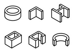 Vector line metal profilies icons set Stock Illustration