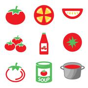Vector color tomato icons set. - stock illustration