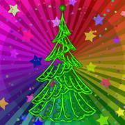 Christmas Tree on Rainbow Background - stock illustration