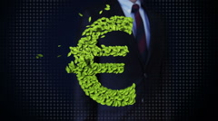 Businessman touching green leaf EURO money, currency sign, made from leaves. Stock Footage