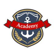 Maritime academy badge with shield and anchor - stock illustration