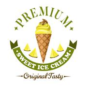 Fruity ice cream cone badge with fresh fruits - stock illustration