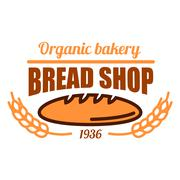 Vintage organic bakery shop icon with bread loaf - stock illustration