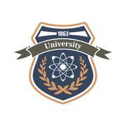 University of physics and science heraldic symbol - stock illustration