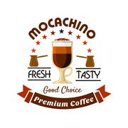 Premium coffee drinks badge with caffe mocha Stock Illustration