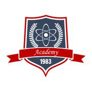 Academy of physics insignia of shield with atom Stock Illustration