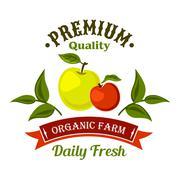 Fresh from the farm apple fruits retro icon design Stock Illustration