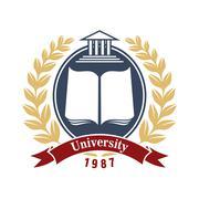 University heraldic insignia for education design Stock Illustration