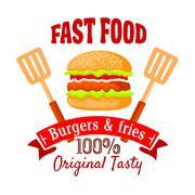 Burger shop or fast food cafe retro badge design - stock illustration