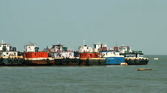 Commercial fishing boats based at port Stock Footage