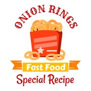 Fast food snacks icon with fried onion rings Piirros