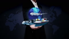 Businesswoman open palms, Global transportation, airplane, train,ship, car. Stock Footage