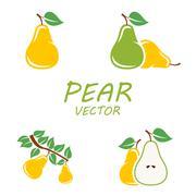 Vector flat pear icons set - stock illustration