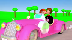 Just married! 3D Car Animation Stock Footage