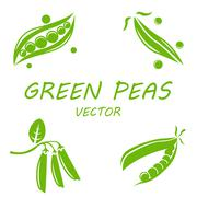 Vector flat green peas icons set - stock illustration