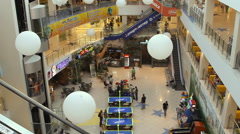 Interior of modern shopping center Komsomall. Stock Footage