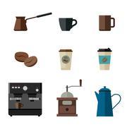Coffee flat icons - stock illustration