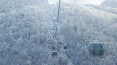 Cable Car railway in ski resort Sochi, Roza Khutor Stock Footage
