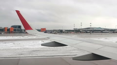 View on the Sheremetyevo airport traffic from landing airplane Stock Footage