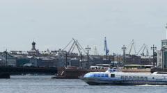 View on Neva river in Saint Petersburg, Russia. 4K UltraHD video Stock Footage