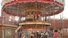 Carousel at Christmas market on the Red Square Stock Footage