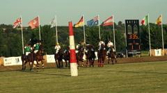 University  International Polo challenge. Slight slow motion. N Crowded jockeys Stock Footage
