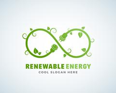 Renewable Energy Abstract Vector Logo Template. Infinity Sign with Leaves - stock illustration