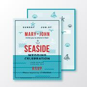 Sea Side Wedding Invitation Card or Ticket Template. Modern Typography and - stock illustration