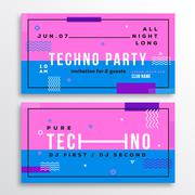 Night Techno Party Club Invitation Card or Flyer Template. Modern Abstract Flat Stock Illustration
