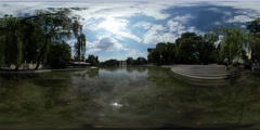 360Vr Video Man Near Water Ripple Sun Reflection in Water Lake in Park Stock Footage