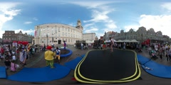 360Vr Video People Jump Celebration City Square Children's Day Opole Happy Kids Arkistovideo