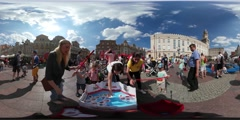360Vr Video Kids Parents Play Fishing Opole Children's Day Concentrated Kids - stock footage