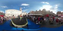 360Vr Video Animators Juggling Diabolo Sticks City Square Children's Day Opole Stock Footage
