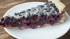 Blueberry cake sprinkled with fresh blueberries Stock Footage