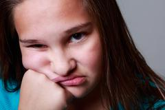 12 years old girl in studio Stock Photos