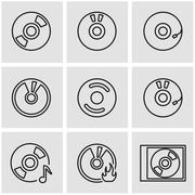 Vector line cd icon set Stock Illustration