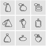 Vector line perfume icon set Stock Illustration