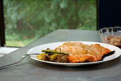 Healthy Salmon dinner with roasted vegetables Kuvituskuvat