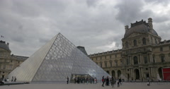 Main courtyard of the Louvre Palace, Paris Stock Footage