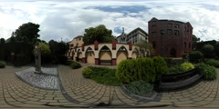 360Vr Video Statue on Square Excursion University Place Opole Tourism Day Stock Footage