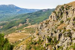 """Famous """"Ghost Valley"""" with strangly shaped rocks. Demerdji mountains. Crimea, - stock photo"""