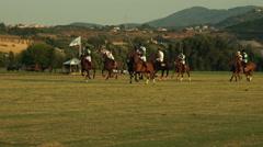Polo challenge. Jockeys chasing the ball. Slight slow Stock Footage