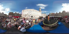 360Vr Video Animators Performing City Square Opole Children's Day Happy Kids Stock Footage