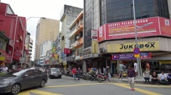 The city center in the Chinatown area known as Petaling Street Stock Footage