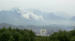 Zhangjiajie city and mountain clouds timelapse. - stock footage