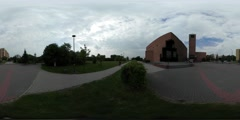 360Vr Video Opole Cityscape Square Alleys of Park Spherical Panorama Paving - stock footage