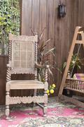antique wooden chair and cradle - stock photo
